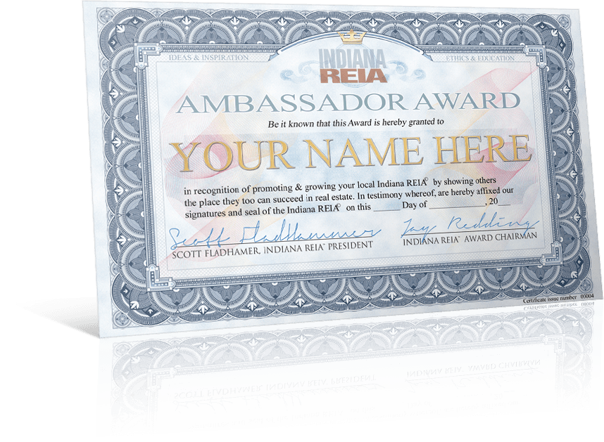 Fort Wayne Indiana REIA Ambassador Award Certificate for Best REIA member promoting gets prizes, gift card, and more