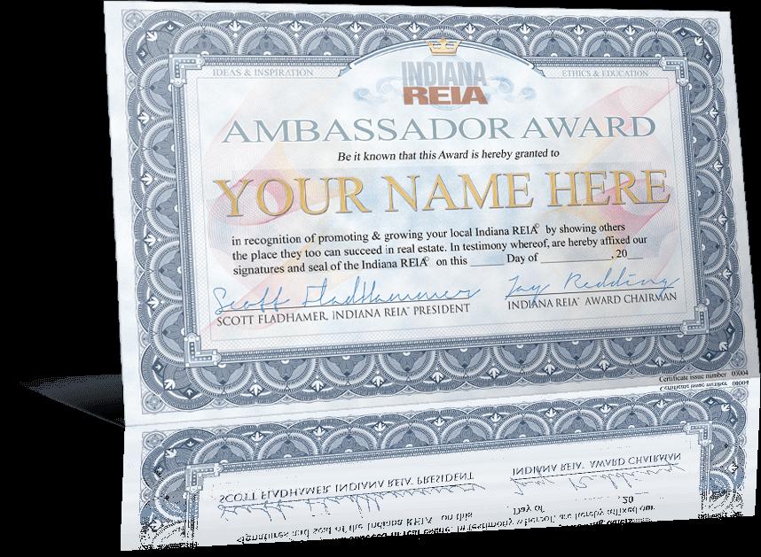 Fort Wayne Indiana REIA Ambassador Award Winner