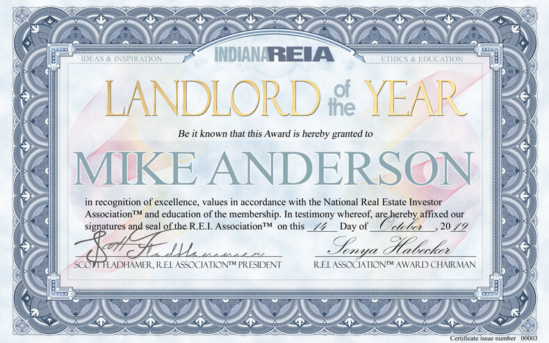 Indiana's Landlord of the Year Award Winner
